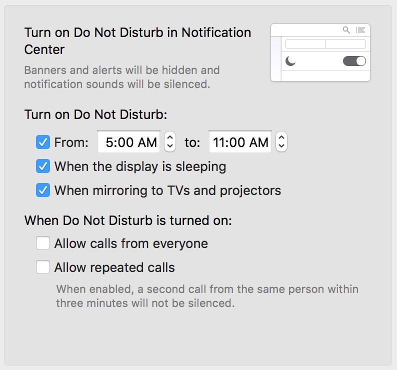 setting the Do Not Disturb mode on Mac